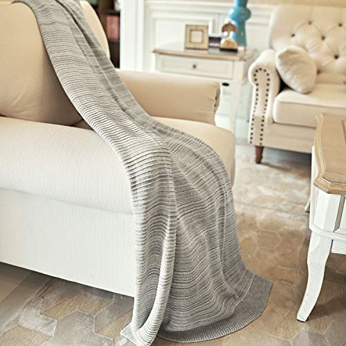 MOTINI Handmade Throw Blanket Gray Brushed Knit Soft Touch Blanket 100% Cotton Woven Cozy Reversible Throw for Sofa Chair Couch Bed, 50' W x 60' L