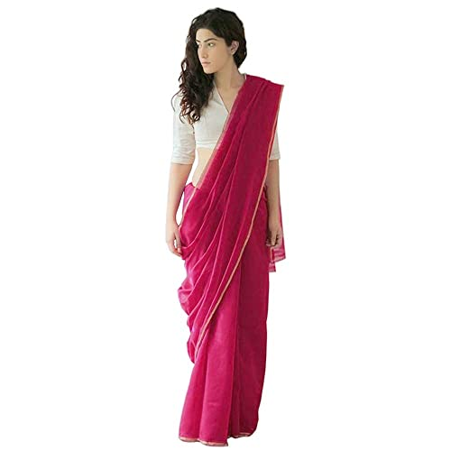 7c5391929f 7Rainbow Women's Plain Handloom Cotton Chanderi Saree With Cotton Blouse