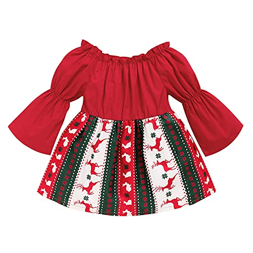 Vacger Toddler Girls Princess Dress Baby Kids Girls Christmas Print Patchwork Clothes 12 Months-3 Years Santa Dresses