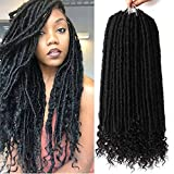 7 Packs Faux Locs Crochet Hair With Curly Ends 16 Inch Dreadlocs Goddess Locs Crochet Braids Synthetic Braiding Hair Extension (16 Inch, 1B#)