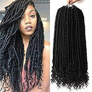 7 Packs Faux Locs Crochet Hair With Curly Ends 16 Inch Dreadlocs Goddess Locs Crochet Braids Synthetic Braiding Hair Extension (16 Inch, 1B#)