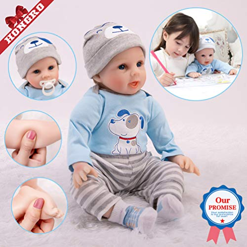 HONGRO DOLL Muñecas Reborn, Bebé Realista y Encantadoras y maravillosas para niños-Juego de 10 Piezas, 55cm Muñecas recién Nacidas de Silicona Suave , Regalo de Crecimiento Infantil (EN71)