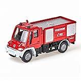 SIKU 1068, Feuerwehr Unimog, 1:87, Metall/Kunststoff, Rot, Bereifung aus Gummi, Spielzeugfahrzeug für Kinder -