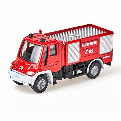 SIKU 1068, Feuerwehr Unimog, 1:87, Metall/Kunststoff, Rot, Bereifung aus Gummi, Spielzeugfahrzeug für Kinder