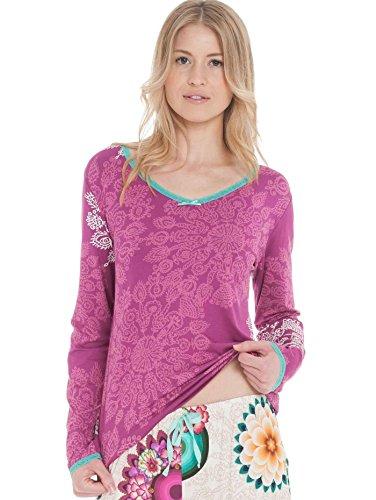 Desigual TS LS Green Blossom Camiseta, Quenny, S/M para Mujer