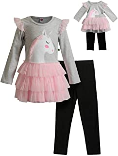 Dollie & Me Girls' Glitter Knit Top with Legging and Matching Doll Set,