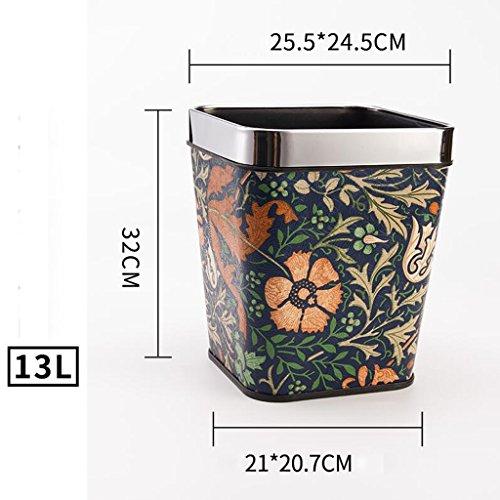 Wddwarmhome Matériel en cuir Forme d'orchidée Poubelle Salle de séjour Chambre Cuisine Hôtel Maison Créative Aucune couverture Petite poubelle en plastique Poubelle Poubelle à Couche ( taille : 13L )