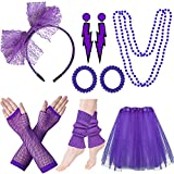 80s Costumes for Women, 80s Accessories Set with Fishnet Gloves Leg Warmers, Tutu Skirts for 1980s Theme Party Outfits(03 Purple)