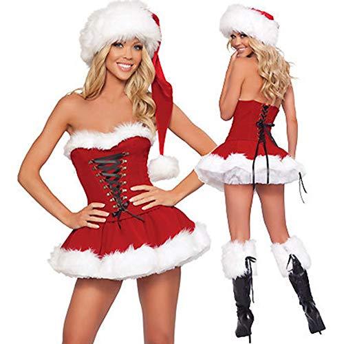 perfecti Disfraz De Forro Polar De Miss Santa Disfraz Mamá Noel Peludo Sexy Conjunto De Sombrero del Cosplay con Vestido y Sombrero, Rojo