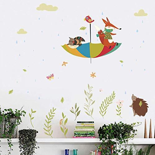 GWFVA cartoon, regenuil vos paraplu vogel muur stickers voor kinderen kamers huis muurdecoratie dieren muursticker PVC muurposter kunst