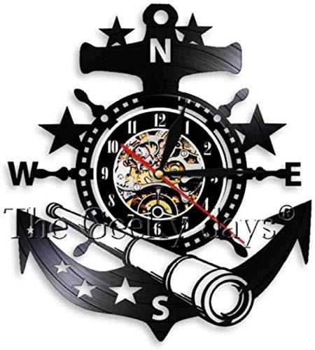 wttian Reloj de Pared Arte Decorativo Creativo Reloj de Pared Ancla Barco Marina brújula Vintage Grabado Marinero Reloj de Pared