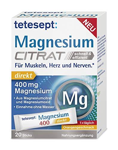 tetesept Magnesium Citrat 400 mg – Nahrungsergänzungsmittel mit hochdosierten Magnesium – Für Muskeln, Herz und Nerven – 20 Sticks