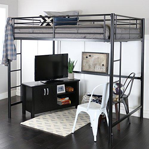 Walker Edison Orion Urban Industrial Metal Double Over Loft Bunk Bed, Full Double, Black