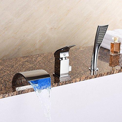 ZYDSN Tres Agujeros Grifo de la bañera de Cascada, Ducha De Mano Latón Cromo de Mezclador, Moderno de Lujo LED Grifo de Baño Traje,Silver Faucet
