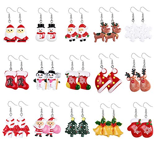 Hanpabum 15 Pairs Christmas Earrings for Women Drop Dangle Earrings Xmas Santa Claus Elk Snowman Holiday Jewelry Set, Ideal Gift