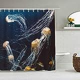 Cortina de Ducha Medusas oceánicas con Manchas Azules Medusas Acuario Vida Animales Marinos Depredador en Aguas Profundas Acuático Forros de baño Impermeables Ganchos incluidos - Ideas para el baño