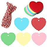 100 Stück Bunt Herzförmige Geschenkanhänger, 5CM Kraftpapier Anhänger Etiketten, 5 Farben Anhängeschilder Eintrittskarten für Hochzeit Party