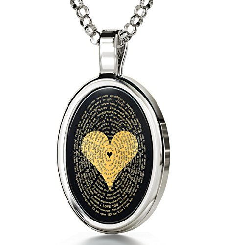 925 Sterling Silver Love Necklace 24k Gold Inscribed with I Love You in 120 Languages Including Braille and Sign Language on Oval Black Onyx Gemstone Anniversary Pendant, 18