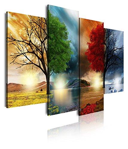 DekoArte 248 - Modernes Bild, digitalisierter Kunstdruck | Dekoratives Bild für den Salon oder das Schlafzimer |Stil Landschaft vier Jahreszeiten rote Bäume | 4 Teile 120 x 90 cm