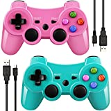 Paquet de 2 Bluetooth Wireless Controller pour manette PS3 Double Frappe Gamepad &...