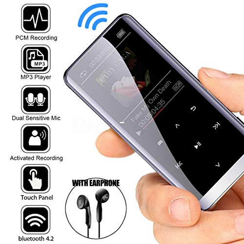 Leoie MP3 Player with Bluetooth 4.2, Portable Lossless Sound Metal HiFi Sport Music Player Speakers MP4 Media FM Radio Voice Recorder Touch Button Music Speaker 8GB with Bluetooth