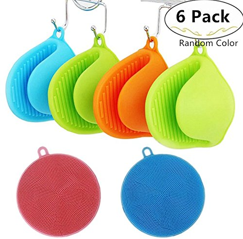 4 Pieces Silicone Oven Mitts + 2 Pieces Silicone Dishwashing Scrubbers, Carnatory Heat Resistant Cooking Pinch Mitts, Non-Slip Kitchen Gloves Pot Holder, Cooking Pinch Grips for kitchen,Baking,Cooking