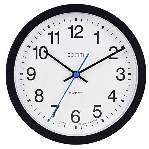 Acctim Bromham Non Ticking Sweep Seconds Hand Wall Clock 20cm Diameter (Black)