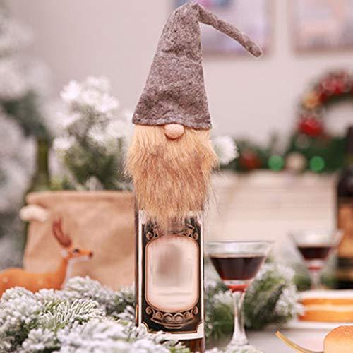 Muñeca de hombre viejo sin rostro, novedad Navidad Halloween Decreción, adornos para el hogar, botella de vino, bolsa de regalo para vestir (gris)
