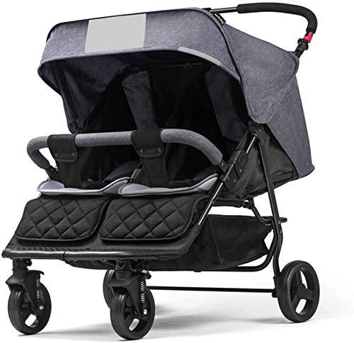 Yuzhonghua Licht Neugeborene Zwillinge Kinderwagen, Hosenträgergurtsystemen Deck Vier Stoßdämpfer Doppel-Kinderwagen Platz für, grau