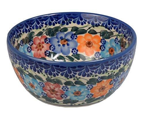 Traditionelle Polnische Keramik, handgefertigte Salat oder Dessert Schüsseln, eine Salat oder Müsli Schale mit Muster im Bunzlauer Stil ?13 cm (360 ml), M.701.GARLAND