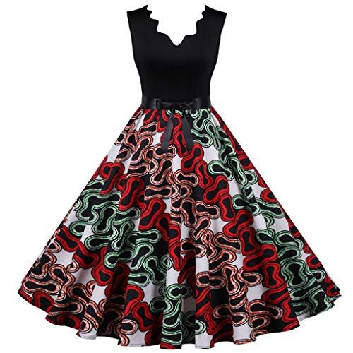 TWIFER Damen Vintage Sommerkleid Punktdruck Partykleid ärmellose Lässige Abendparty Abendkleid Halloween Cocktailkleid