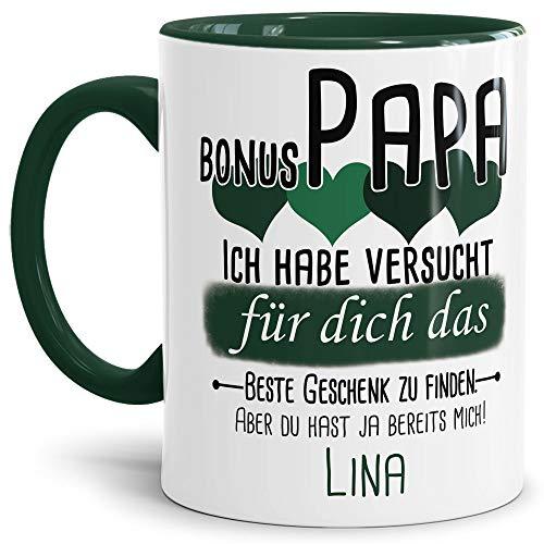 Tassendruck Geschenk Tasse mit Spruch PERSONALISIERT Bonus-Papa von Kind - Kaffee-Tasse/Geschenkidee Geburtstag Vatertag/Vatertagsgeschenk - Innen & Henkel Dunkelgrün