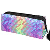 PHOGARY Glitter Cosmetic Bag Mermaid Spiral Reversible Sequins Portable Double Color Brush Pencil Case for Girls Make Up Pouch with Pompon Zip Closure (Colorful)