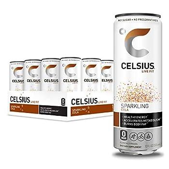 CELSIUS Sparkling Cola Fitness Drink Zero Sugar 12oz Slim Can  Pack of 12