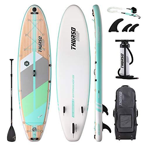 THURSO SURF Tabla Paddle Surf Hinchable Waterwalker 320 x 79 x 15 cm Construcción de Dos Capas Deluxe Incluye Remo con Eje de Carbono/2+1 Quick Lock Aleta/Correa/Bomba/Mochila de Rodillo