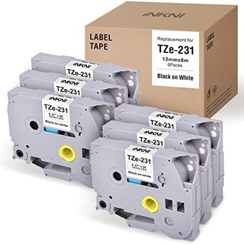 INKNI Compatible Label Tape Replacement for Brother P Touch TZe 231 TZ 231 Laminated Label Maker product image