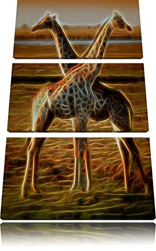 Giraffen Liebe New Art3-Teiler Leinwandbild 120x80 Bild auf Leinwand, XXL riesige Bilder fertig gerahmt mit Keilrahmen, Kunstdruck auf Wandbild mit Rahmen, gänstiger als Gemälde oder Ölbild, kein Poster oder Plakat