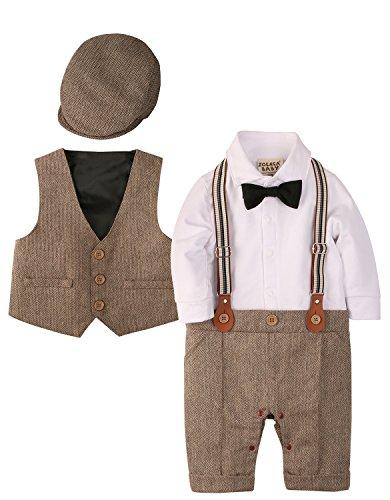 ZOEREA 3 pcs Bébé Garçon Vêtements Définit Combinaisons Barboteuse + Gilet + Chapeau Costume Manteau Gentleman en Coton de Baptême Noël Mariage, Marron, 80 (9-12 mois)