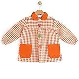 BeBright Babi Escolar Infantil, Bata Escolar Niña y Niño con botones, Mandilón de Guardería - Fabricados en España (Naranja, 1-2 años)