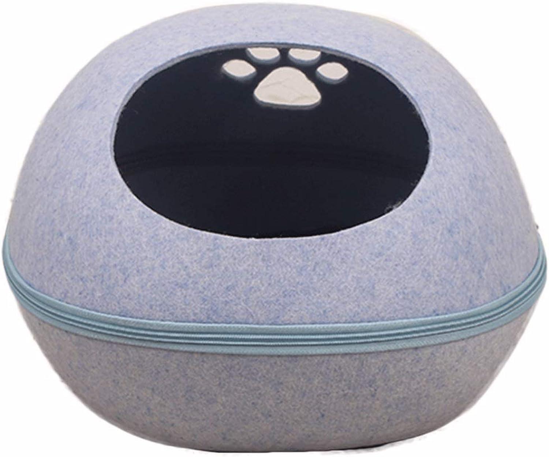 Four Seasons Universal Round Dog Footprints Hollow Design Felt Cat Litter Durable Mat Separation Pet Supplies (color   bluee, Size   48X38X36Cm)