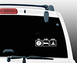 aqeuno Car Decal Car Sticker 15.8Cmx5.9Cm Eat Sleep Kayak Decal Car Fishing Canoe Funny Car Sticker and Motorcycle Decorating Sticker for Car Laptop Window Sticker