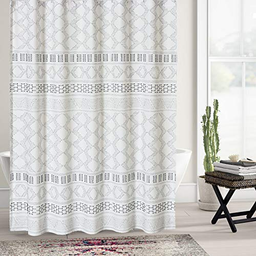 DOSLY IDÉES Boho Fabric Shower Curtain Set with Hooks for Bathroom, White and Gray, Decorative Woven Texture Waterproof Clipped Jacquard,Farmhouse,Shabby Chic and Modern Style Cloth Panel, 72 x 72 in