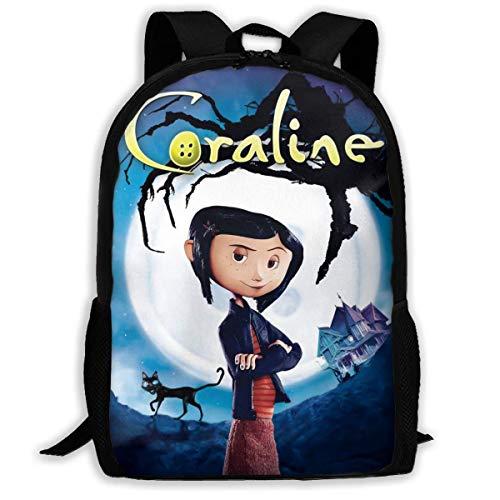 Heren Womens Trendy Zakelijke Rugzak Zak, Waterbestendig Verstelbare Handtassen voor werk Camping Reizen, Coraline en de geheime deur Halloween Poster School Tassen
