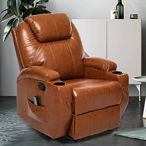 ERGOREAL Recliner Chair Massage&Heat Single Sofa for Living Room, Premium PU Leather Chair Reclining Manual Ergonomic Huge Overstuffed Home Theater Seating-Brown