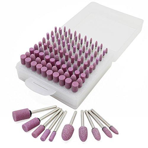 100 testine multifunzione lucidanti e abrasive in pietra montate su mandrini, set di accessori misti per utensili rotanti Dremel