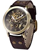 Fanmis Men's Steampunk Bronze Skeleton Self-Winding Automatic Mechanical Brown Leather Wrist Watch