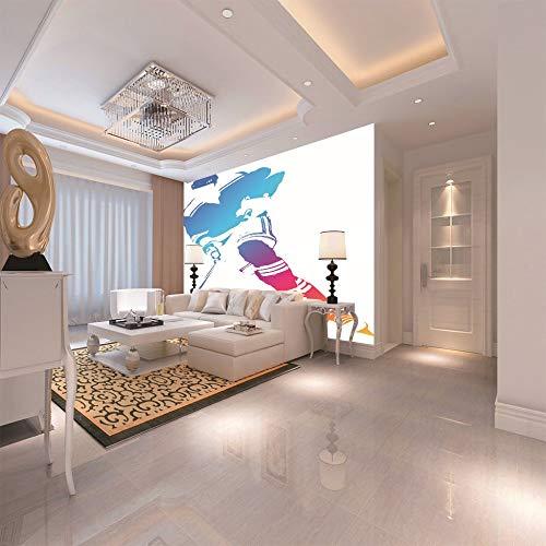 3D Fototapete Eishockey Wandbild Leinwand Aufkleber Premium Kunstdruck Dekor Poster Bild Moderne Home Design Dekoration,100cm(W) x70cm(H)-2 Streifen