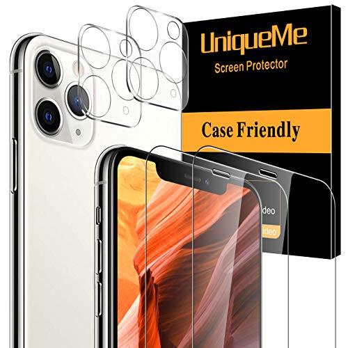 """[2+2 Pack] UniqueMe Protector de Pantalla Compatible con iPhone 11 Pro Max (6.5"""") y Protector de lente de cámara Cristal Templado, [Cobertura máxima] [Sin Burbujas] HD Vidrio Templado"""