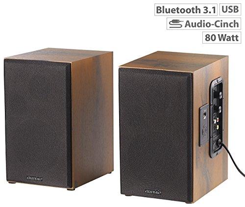 auvisio Aktivboxen: Aktives Stereo-Regallautsprecher-Set im Holz-Gehäuse mit Bluetooth (Lautsprecher für TV)