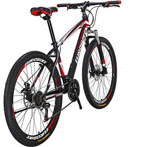 Moutain Bike TSMX1 21 Speed MTB 27.5 Inches Wheels Dual Suspension Mountan Bicycle (red)